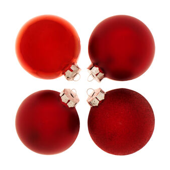 Set of 4 Christmas baubles in red glass D 8cm