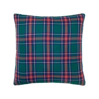 Twill cushion with tartan pattern