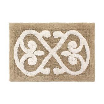 Cotton bath mat with decoration