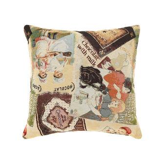 Gobelin cushion with chocolate manifestos pattern