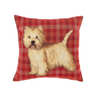Gobelin check cushion with dog