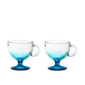 Set of 2 ice cream bowls in coloured glass