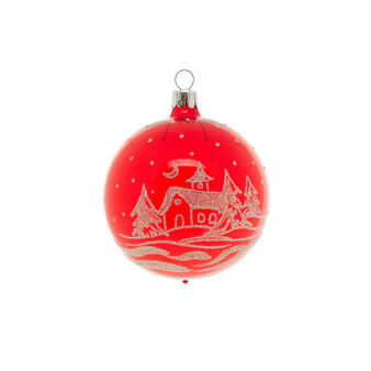 Christmas scene glass bauble with glitter