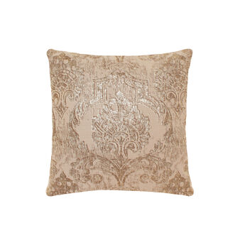 Coated-effect cushion with damask pattern
