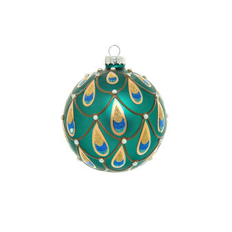 Glass bauble with peacock tail decoration D 8cm