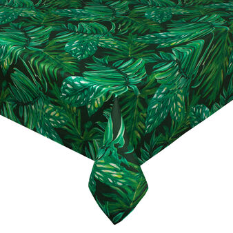 Dark tropical leaves tablecloth in 100% cotton
