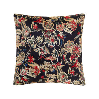 Cotton satin cushion with floral pattern