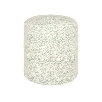 Cylinder pouf in patterned linen