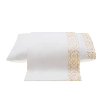 Double bed flat sheet in percale with gold embroidery