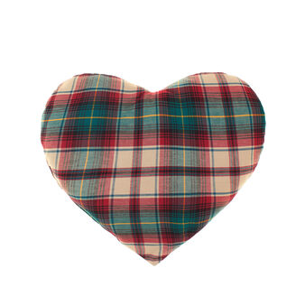 Soft tartan twill heart cushion