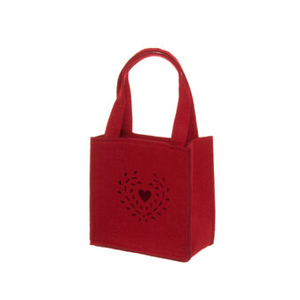 Felt bag with Hearts decoration