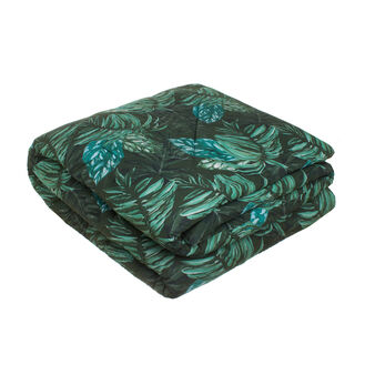 Dark tropical leaf quilt in 100% cotton percale