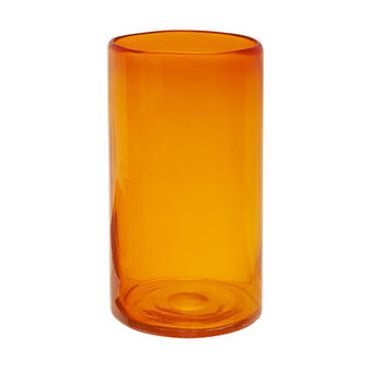 Cylindrical coloured glass vase
