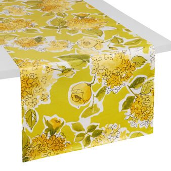 Plastic-coated table runner with floral print