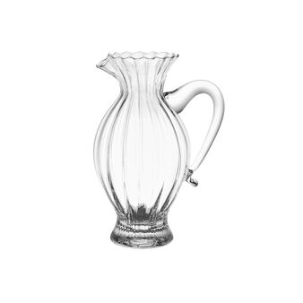 Decorated glass jug with smooth handle