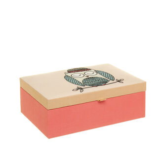 Rectangular fabric trinket box with owl print