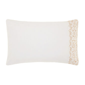 Pillowcase in percale with gold embroidery