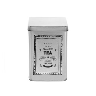 Tin container with Tea print