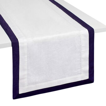 Linen and cotton table runner with edging
