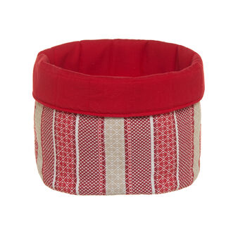 Round covered basket with striped jacquard weave