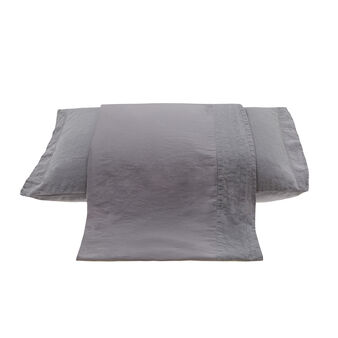 Flat sheet in pure washed linen and satin on the back