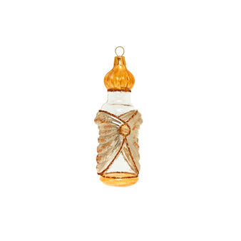 Bottle shaped glass decoration H 10cm