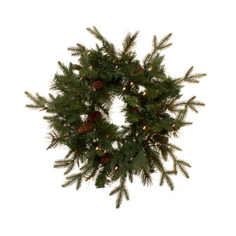 Aspen pine wreath with LED lights and pine cones D 60