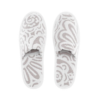 Slippers in 100% cotton with velvet decoration