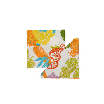 Set of four vegetable print napkins