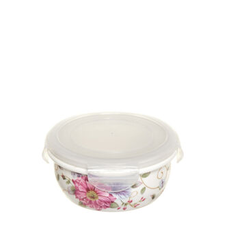 Round bone china container with lid