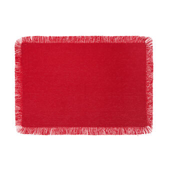 Cotton table mat with fringe