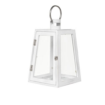 Lantern in metal and glass with chrome handle
