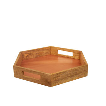 Hexagonal mango wood tray