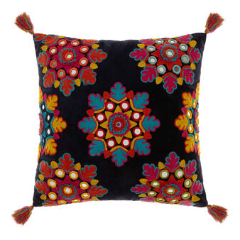 Cushion with multi-coloured inserts and tassels