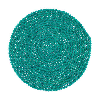 Knotted round paper table mat