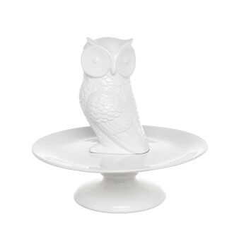 Ceramic cake stand with owl