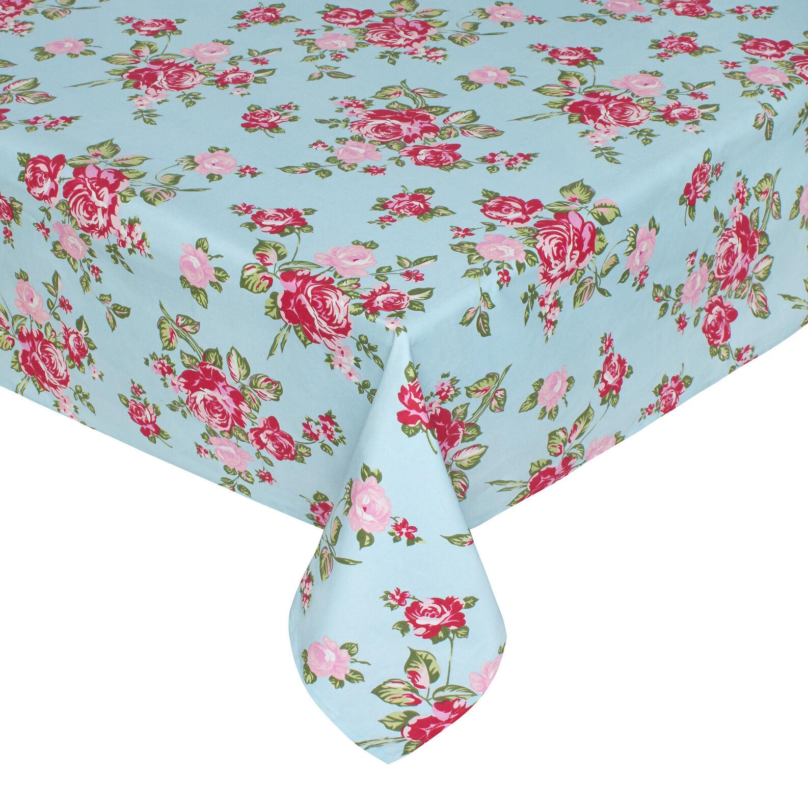 100 Cotton Tablecloth With Rose Floral Print Coincasa