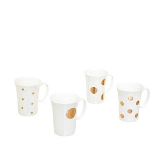 Set of 4 mugs in polka dot porcelain