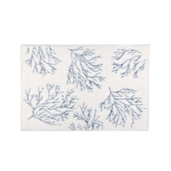 100% tufted cotton bath mat with corals