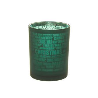 Candle holder vase with Christmas lettering
