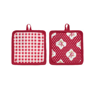 Two-pack Rose and Polka Dot cotton pot holders
