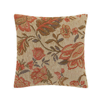 Jacquard cushion with floral embroidery