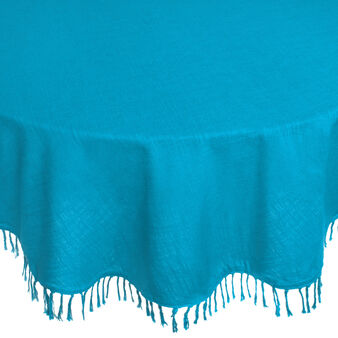100% cotton round tablecloth with fringing