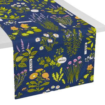 100% waterproof cotton table runner with Herbarium print