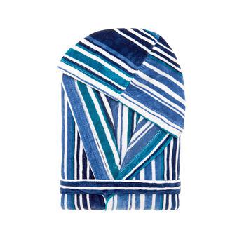 Yarn-dyed, striped velour bathrobe