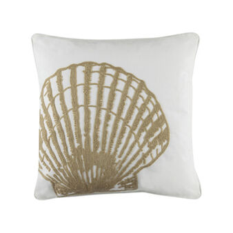 100% cotton cushion with shells embroidery