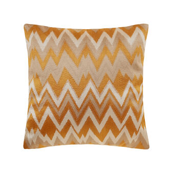 Cushion with zigzag embroidery