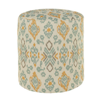 Padded oval pouf in linen blend with ethnic design