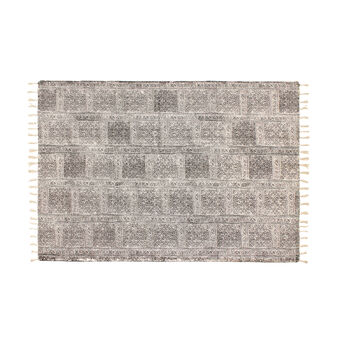 Hand-printed rug in 100% cotton