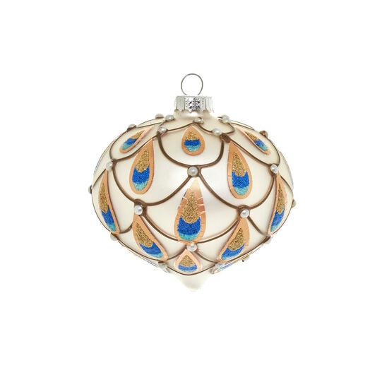 Cipolla in vetro silver decorazione coda pavone D 8cm